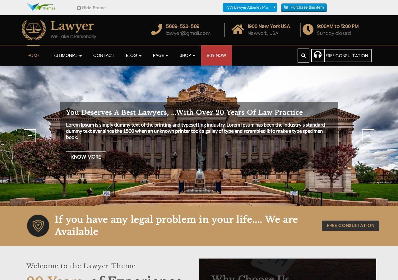 Download VW Lawyer Attorney Free Responsive WordPress Theme